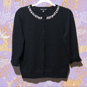 Classic button front cardigan with beaded collar
